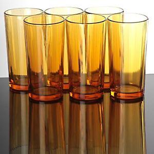 6-schwere-Becher-Glaeser-Longdrink-Wasserglaeser-Saftglaeser-Italy-29-gelb-orange