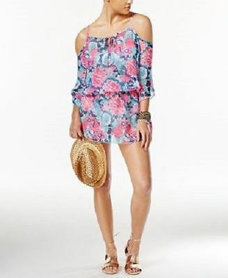 NEW Miken Swimwear Cover Up Tunic Cold Off Shoulder Sugar Plum Fringe S Small