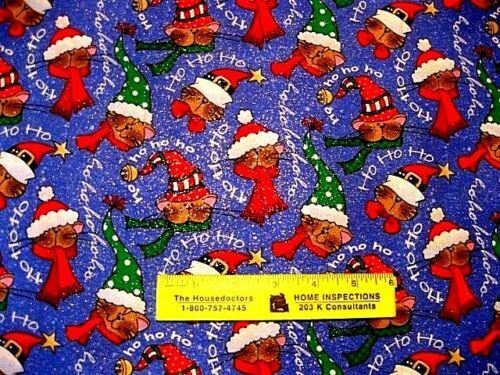 SPARKLY  CATS  IN  HATS HO  HO  HO   Cotton Fabric   3//4 Yard 27 inches