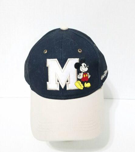Disney Parks Mickey Mouse Character Varsity Logo Baseball Hat Cap Blue Beige