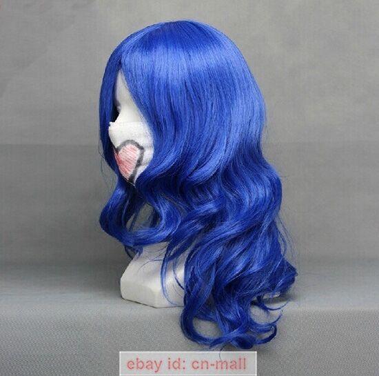 FAIRY TAIL Juvia Loxar Long curly Dark Blue Anime Cosplay Hair Wig
