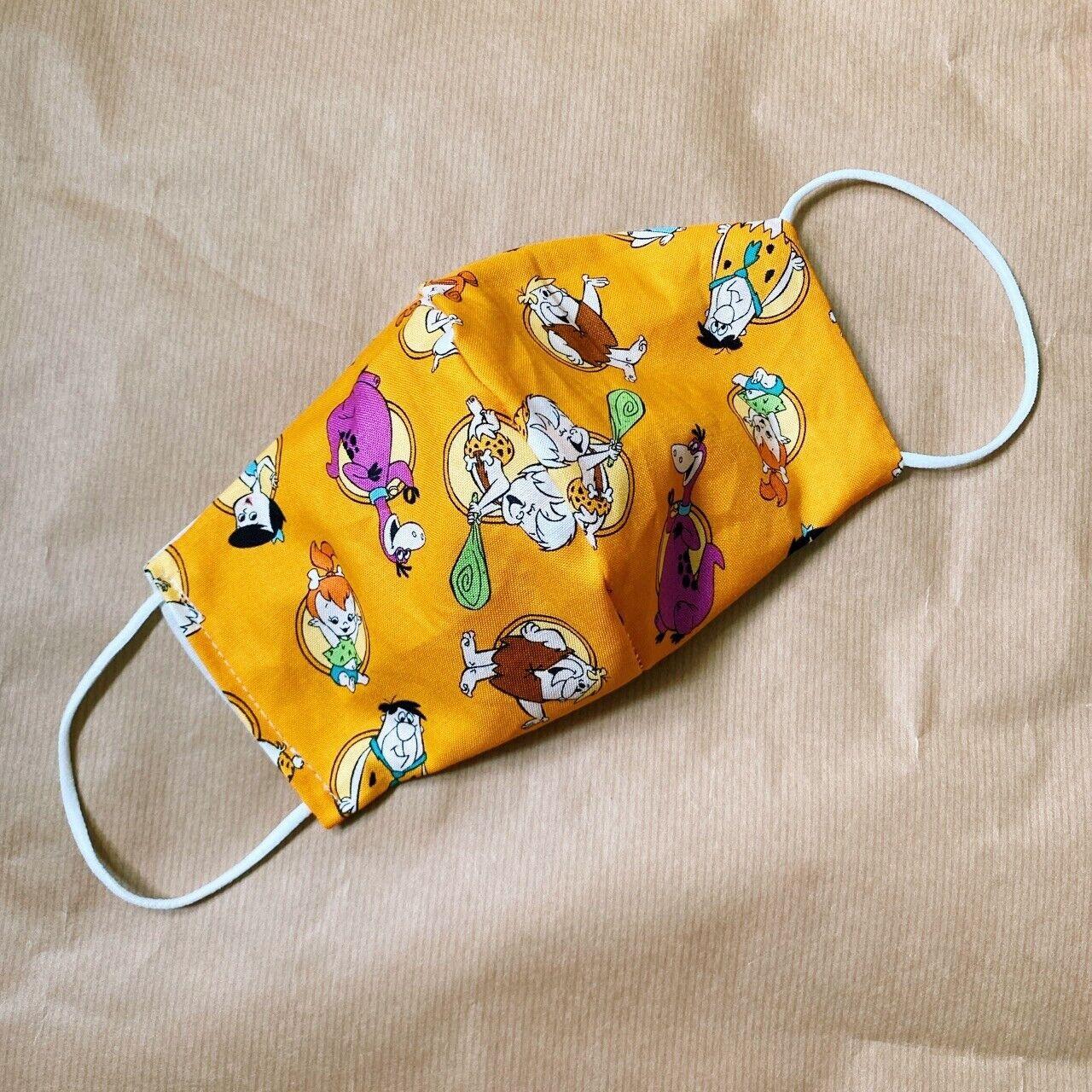 ☁️ Handmade Retro Orange Flintstones 100% Cotton Mask 🦕 🧉🐚