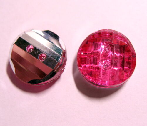 6 x HOT PINK /& Silver Rhinestone Type 2-Hole Buttons 15mm Wide FC2D