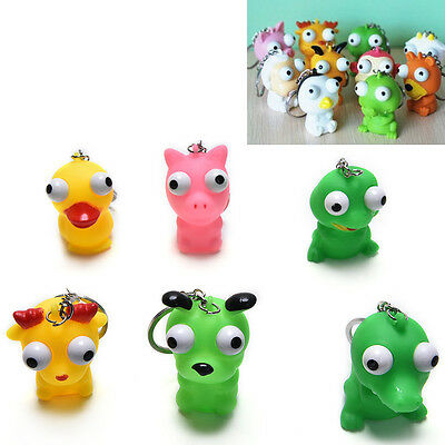 1 Pc Raised Eyes Doll Anti Stress Ball Vent Animal Keychain Squeezing Toys SE