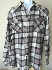 Vintage-Retro-Gray-Grey-DICKIES-FLANNEL-Men-039-s-Button-Down-Shirt-Long-Sleeve