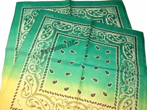 "Bandana Paisley Fade Green 3 Pack 100/% Cotton 22/"" x 22/"" Each"