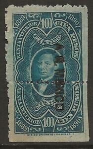 Mexico-Revenue-1889-90-Renta-Interior-100P-Blue-Green-Fine-Unused-CV-120-00