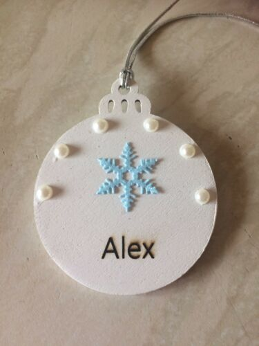 Handmade Wooden Personalised Bauble Xmas Tree Dec Blue Snowflake