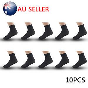10X Pairs Mens Bamboo Fibre Socks Odor Resistant Sweat Black Natural Comfortable 714367560090