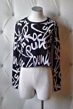 Soho Babe NWT S Graffiti Punk Rock Mesh Crew Neck Crop Top White & Black Zipper