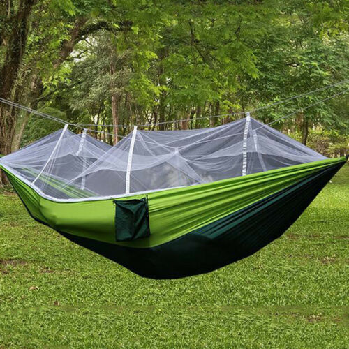 Double Outdoor Person Travel Camping Hanging Hammock Bed Wi Mosquito Net Set