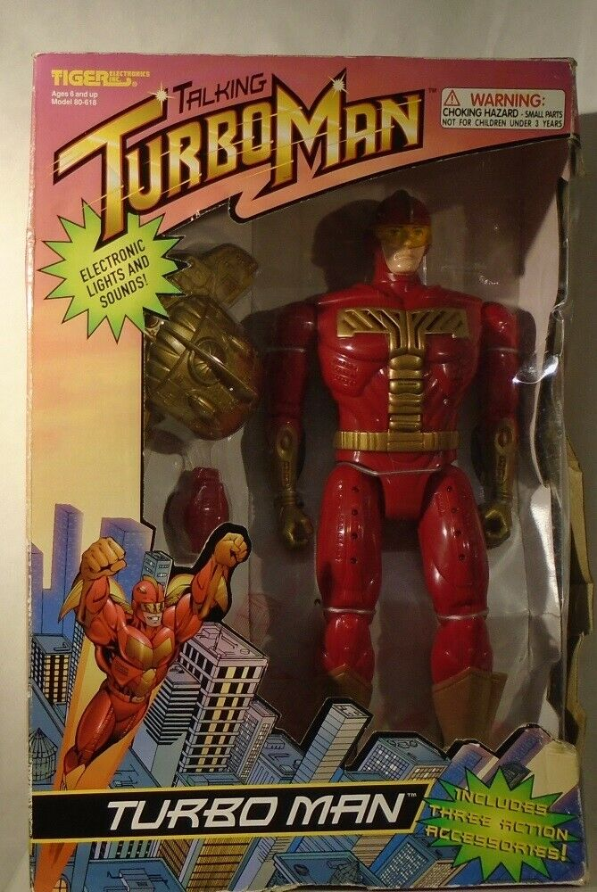 Jingle All The Way 13  Turbo Man Talking Figure Tiger Electronic Turboman SEALED