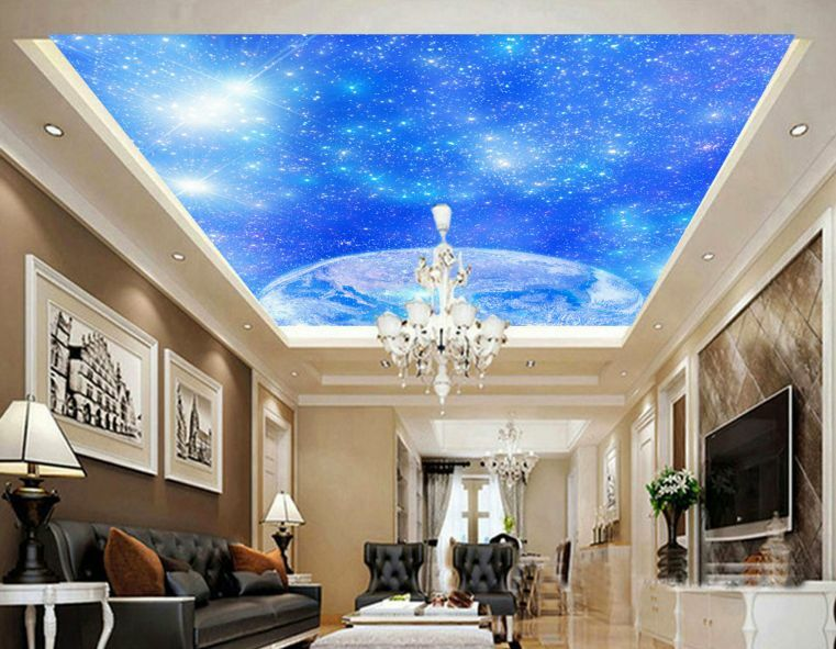 3D bluee Earth&Space Ceiling WallPaper Murals Wall Print Decal Deco AJ WALLPAPER