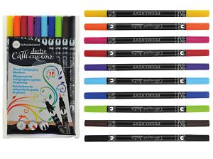 Pack-10-Permanent-Callicreative-Duo-Brush-Tip-Coloured-Dual-Nib-End-Pens-MM7005