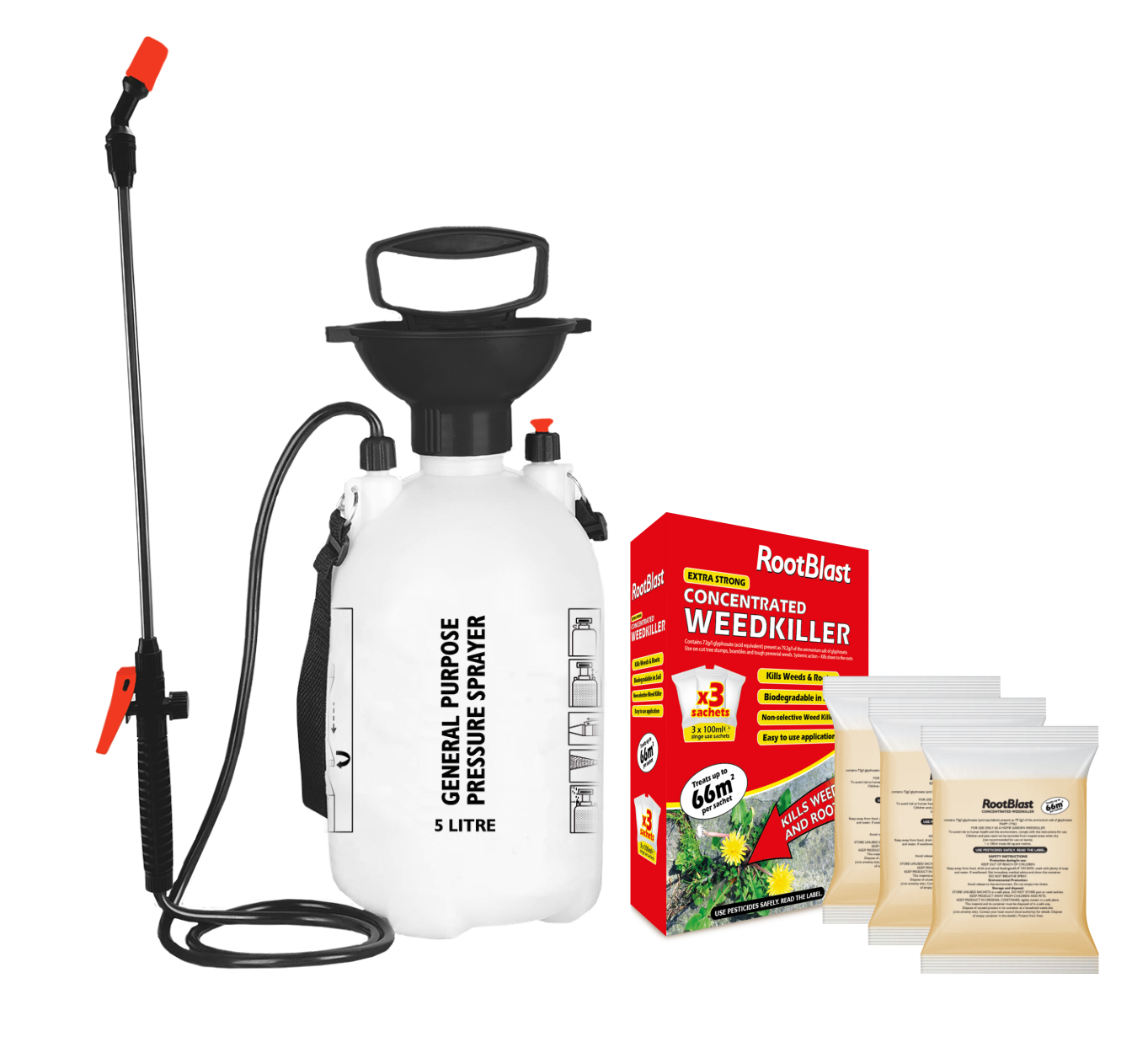 Rootblast Industrial Weedkiller 3 x 100ml + 5L Sprayer Systemic with Glyphosate