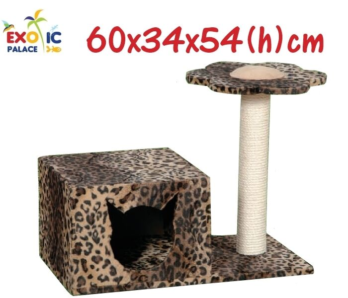 SCRATCHER DOGHOUSE IN ROPE GAME FOR CATS LEOPARD 54cm PLUSH SISAL GATTINO