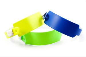 100 Kontrollbänder Wristbands  PVC 3-lagig verschiedene Farben
