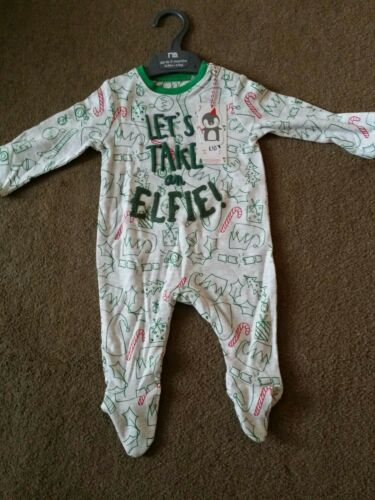 New with tags Mothercare let/'s take an elfie Christmas Pyjamas sleepsuit 6-9 m