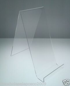 LARGE-CLEAR-PERSPEX-BOOK-DIAPLAY-STANDS-WITH-LIP-CLEAR-ACRYLIC-HOLDER-X-5