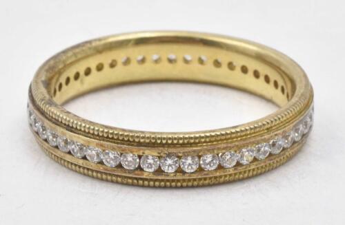 NOS 18K Gold over Sterling Silver Channel Set Cz Baguettes Cocktail Ring Vintage NOS Size 9