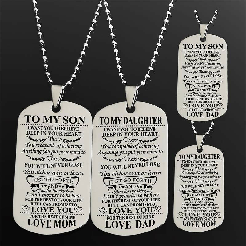 TO MY SON DAUGHTER Pendants Love Dad Mum Tag Necklaces Jewelry Kids Toys  Gift | eBay