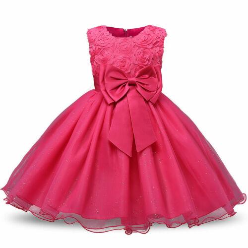 Girls Party Dress Baby Flower Kids Bridesmaid Rose Prom Wedding Dresses Princess