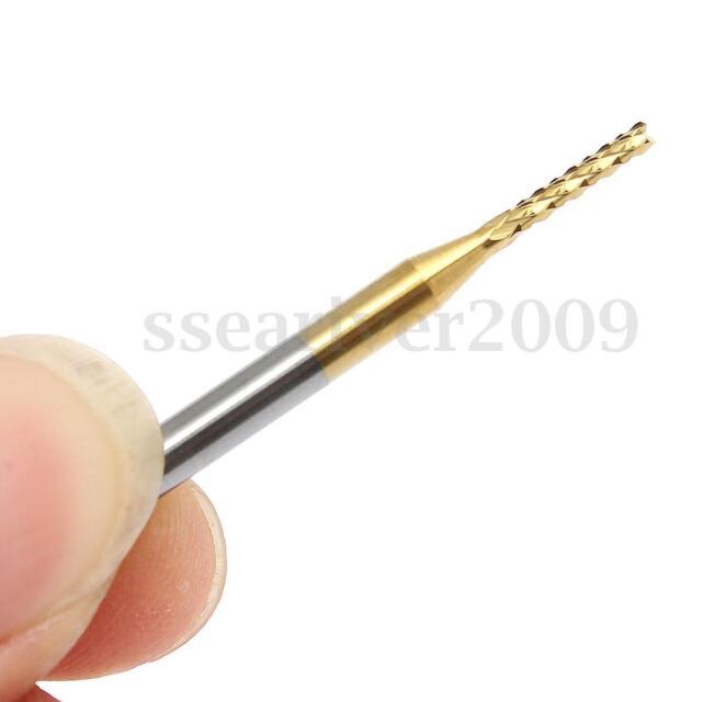 "10pcs 0.0475/"" 1.2mm Carbide End Mill Engraving Bits CNC PCB Machinery 1//8/"" shank"