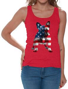 9418ffaf929f2 French Bulldog USA Flag Women s Tank Tops 4th Of July Gift