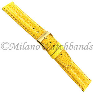 18mm-Milano-Yellow-Textured-Leather-Double-Ridge-Padded-Stitched-Mens-Band-Reg