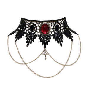 Ruby-red-gothic-choker-necklace-lace-draped-chains-steampunk-wedding-goth