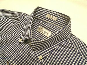 Peter-Millar-Cotton-amp-Silk-Blend-Navy-Gingham-Check-Sport-Shirt-NWT-Large-145