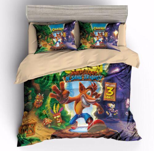 Crash Bandicoot N.Sane Trilogy Duvet Quilt Cover Pillowcases Bedding Set Double