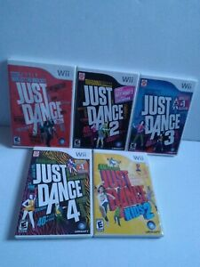 Just-Dance-Nintendo-Wii-Lot-Of-5-Just-Dance-1-2-3-4-amp-Kids-2-TESTED-amp-WORKING