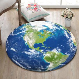 Globe World Map Non Slip Bath Mat Circle Velboa Rug Carpet