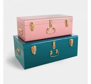 DEFECTS**Teal & Pink Metal Storage Trunks Chest Bedroom, Dressing Room Set of 2