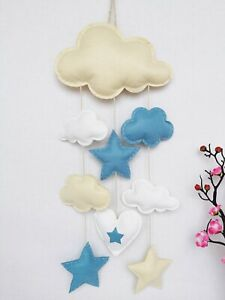 Handmade-BABY-MOBILE-Cream-White-Sky-Blue-Clouds-Stars-Heart-Felt-Nursery-Decor