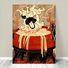 "Vintage Japanese SAMURAI Warrior Art CANVAS PRINT 8x10""~ Kuniyoshi Bath Boy"