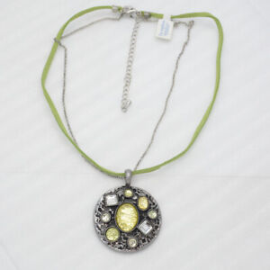lia-sophia-jewelry-vintage-silver-tone-pendant-green-leather-chain-necklace