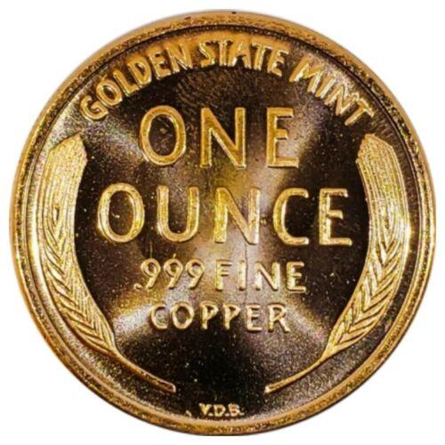 1909 S V.D.B UNC ROUND LINCOLN WHEAT CENT LARGE 1 OZ COPPER  111