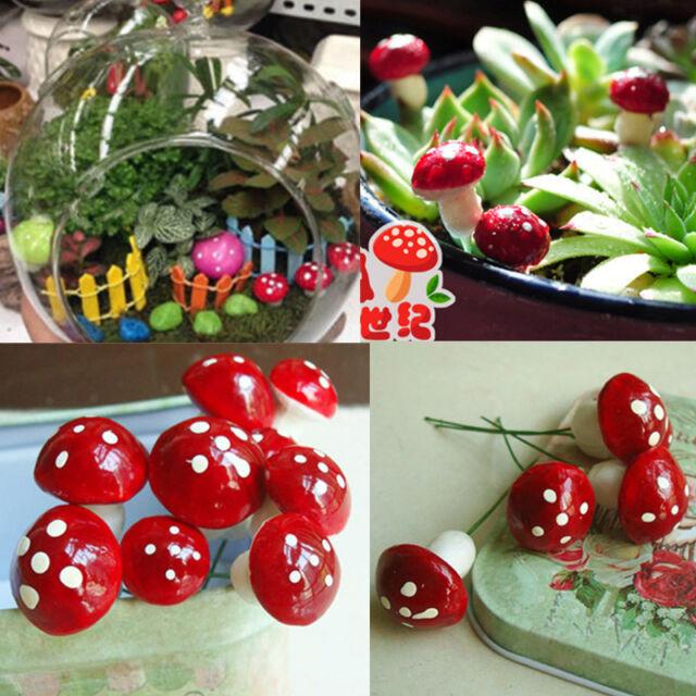 20pcs Mini Red Mushroom Garden Ornament Miniature Plant Pots Fairy Dollhouse