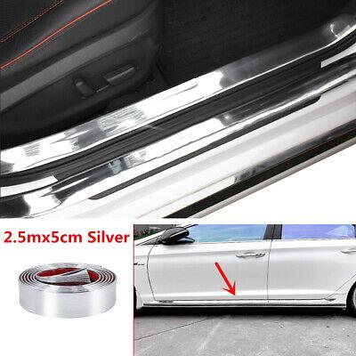 2.5mx5cm Silver Car Door Sill Scuff Cover Protector Pedal Trim Strip Accessories