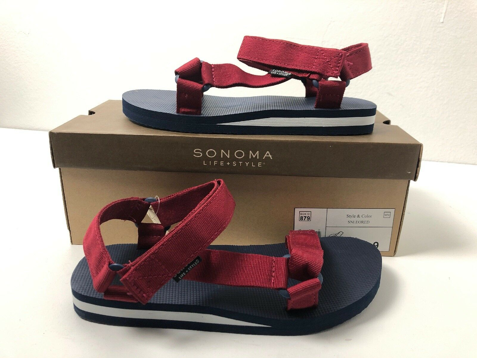 Sonoma Life + Style Mens Sandals bluee Red Sz. 9