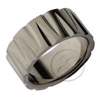 Titanium Ring Multi Grooved Designer Wedding Band 10mm