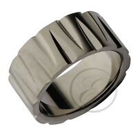 Titanium Ring Multi Grooved Designer Wedding Band 10mm