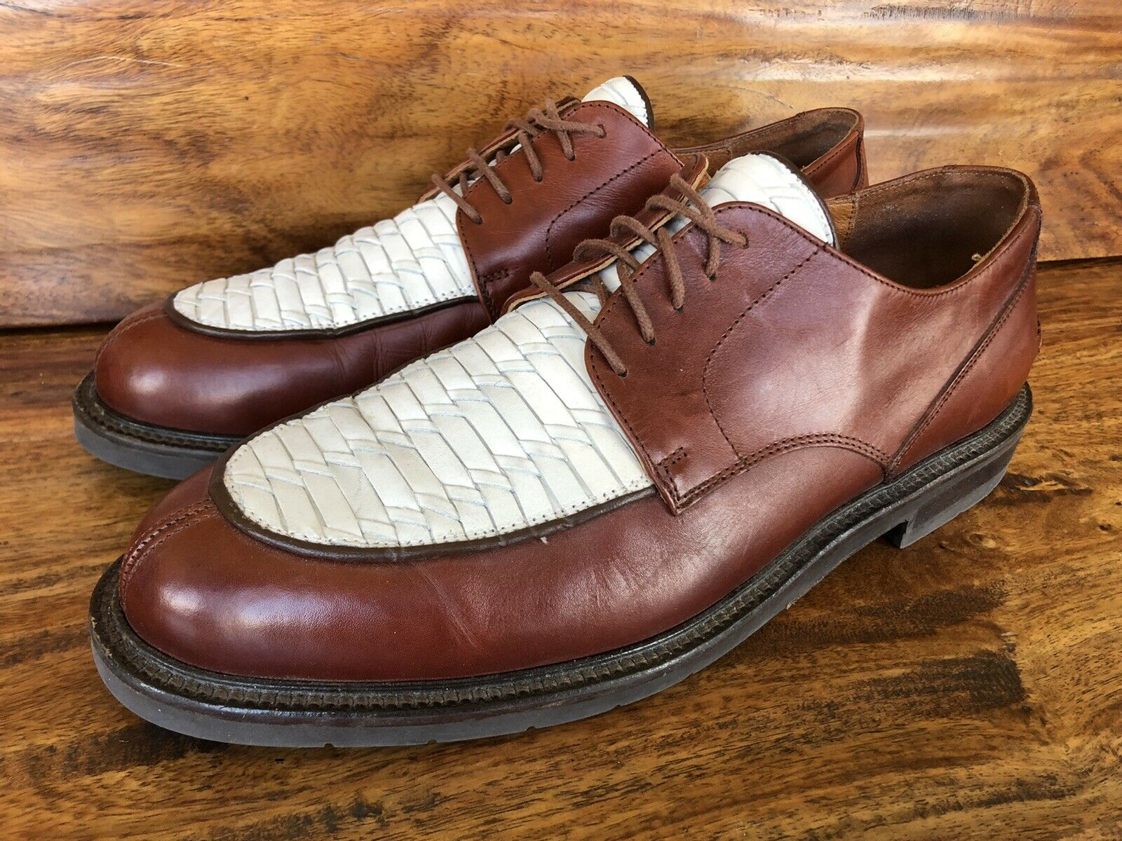 Men's Johnston & Murphy Casual Shoes Brown White Leather Size 11 M Made In Italy