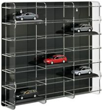 SORA Model Car Display Cabinet 1/43, Back-Panel: Black, For 18 Model Cars
