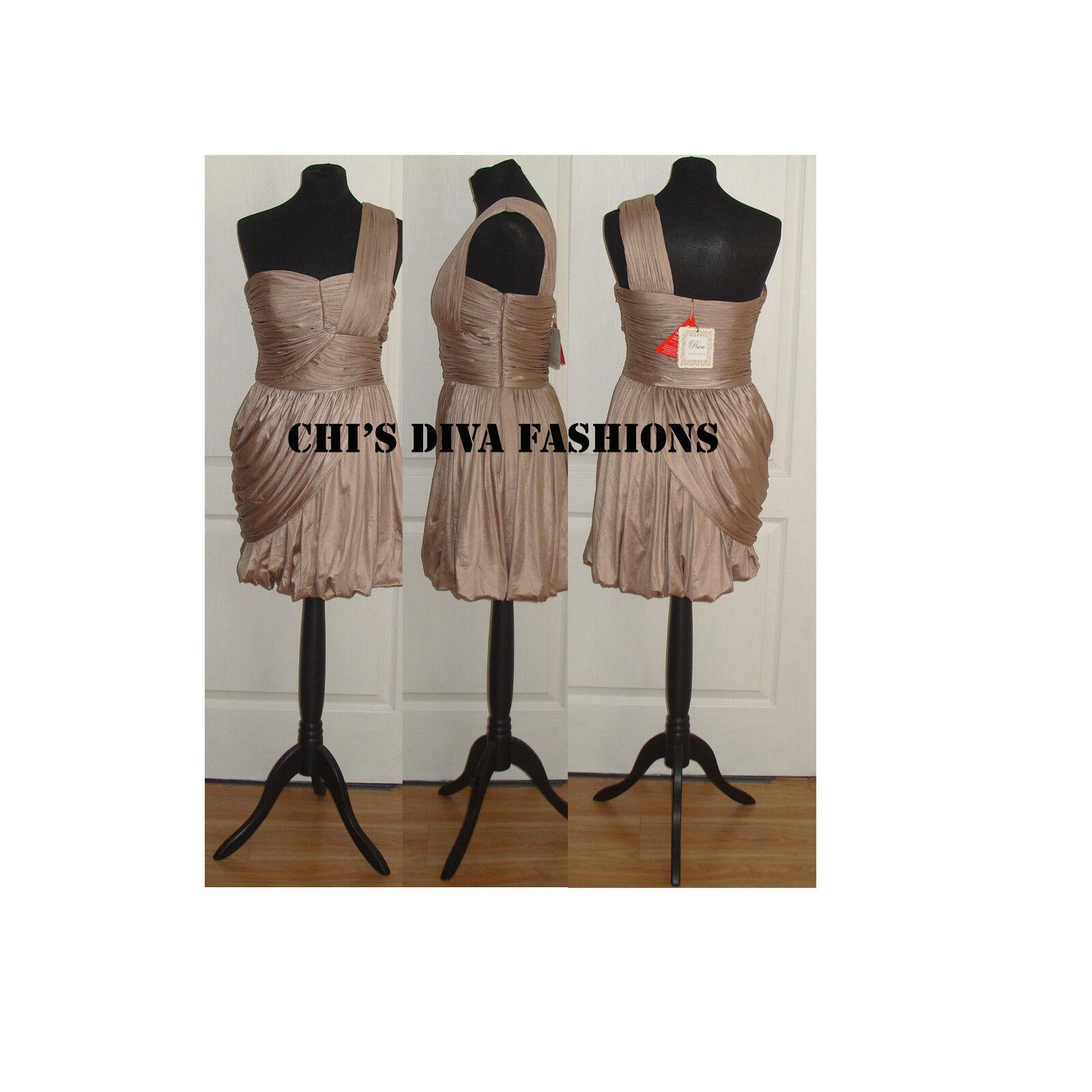 RARE OPULENCE Metallic One Shoulder Dress Größe 12    US 8  RRP