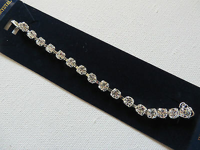 STUNNING CLASSIC DIAMANTE BLING LINKED BRACELET 16 + 3cm NEW voile gift pouch