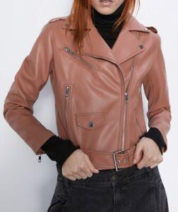 ZARA Women's Faux Leather Biker Jacket(Marsala, US M, L / EUR M, L)   eBay