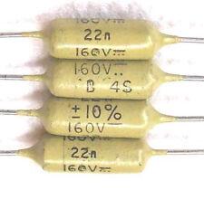 4 Condensateurs MULLARD MUSTARD C296 NEUFS 22nF - 160V - 0.022uF - 22000pF